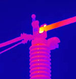 thermogram showing a hot spot on an insulator