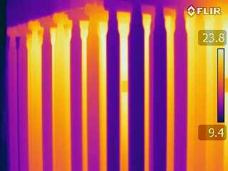 Jersey Infrared Consultants infrared images of transformer fins shows an abnormal pattern. Taken by Jon Scheurer during an Infrared Electrical System Survey in Philadelphia, PA.